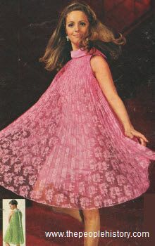 1967 pleated tent dress pink lace green high neckline sleeveless shift with over 60s era (220×350)