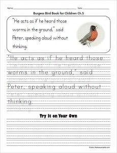 Burgess Bird Book Copywork For