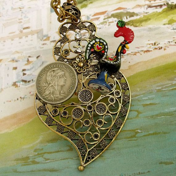 Vintage Portuguese coin Rooster in filigree Heart pendant ...Good luck charm