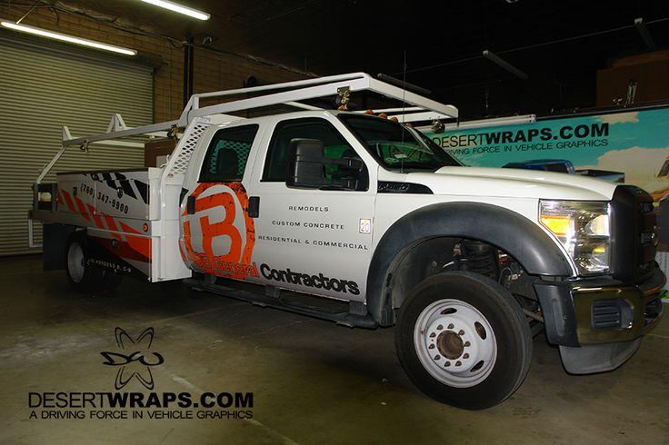 Construction utility truck wrap. DesertWraps.com services businesses from Palm Springs, Palm Desert, La Quinta, Riverside, Temecula and beyond. 760-935-3600
