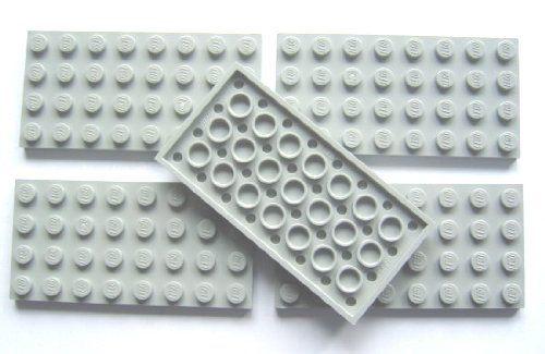 LEGO CITY - 5 BAUPLATTEN PLATTEN MIT 4x8 NOPPEN IM NEUEN HELLGRAU » LegoShop24.de