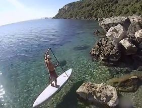 Crazy clear water, SUP boarding bay cruising.
