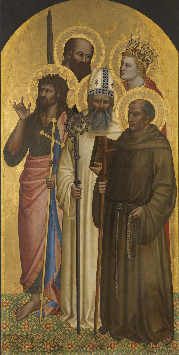 http://www.pinakothek.de/sites/default/files/imagecache/cloud_zoom_large/gemaelde/original/4b_waf1028_2013_0.jpg  Nardo di Cione. Saints John the Baptist, Romuald, Gerard of Villamagna, Paul and Minias, ca. 1365 Alte Pinakothek, Inv. WAF 1028