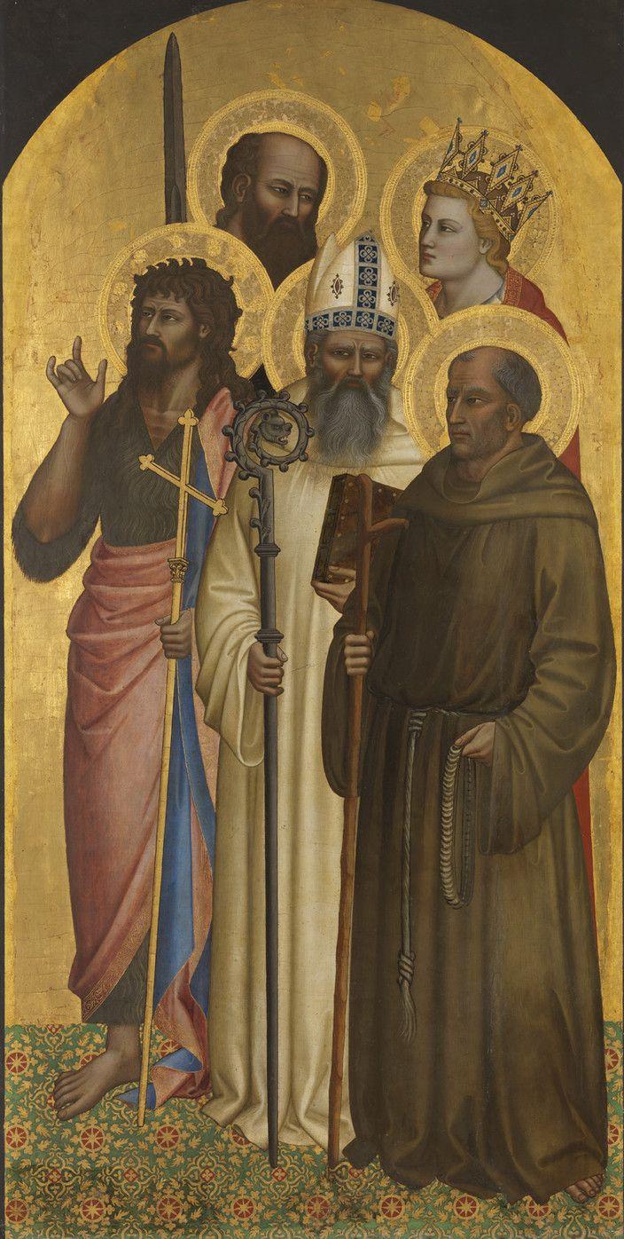http://www.pinakothek.de/sites/default/files/imagecache/cloud_zoom_large/gemaelde/original/4b_waf1028_2013_0.jpg  Nardo di Cione. Saints John the Baptist, Romuald, Gerard of Villamagna, Paul and Minias, ca. 1365 Alte Pinakothek, Inv. WAF 1028