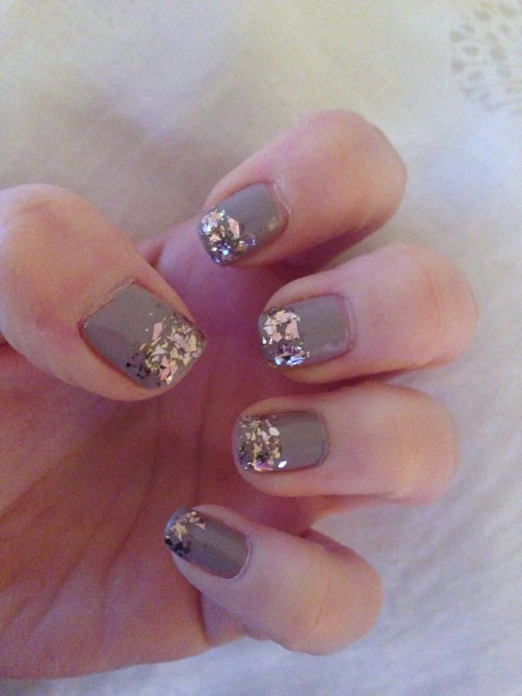 Beige nails with glitter tips