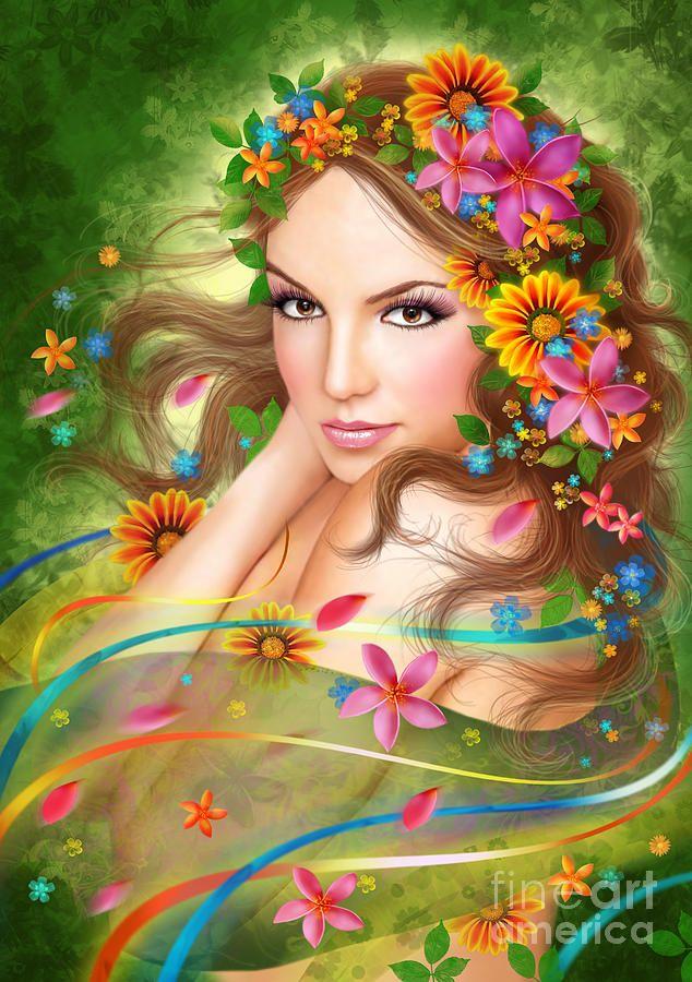 Fantasy Beautiful Fairy Woman With Flowers Digital Art ...