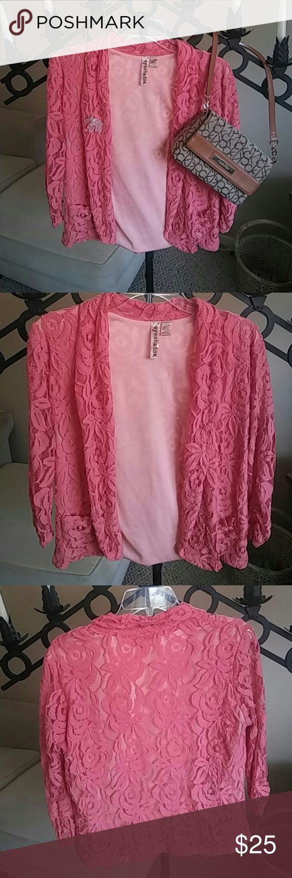 HALLOWEEN SALE! Coral Lace Cardigan A beautiful cardigan in a coraly pink color. Gently used. Some loose threads on the lace. I also have it available in black. Also look for the Calvin Klein purse for purchase in my closet! Bundle! Eyeshadow Sweaters Cardigans