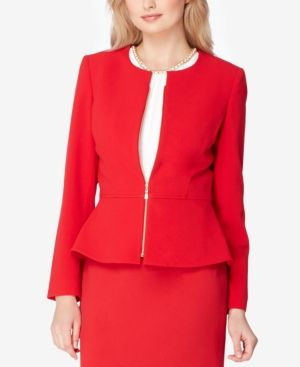 Tahari Asl Petite Zip-Up Peplum Blazer - Red 16P