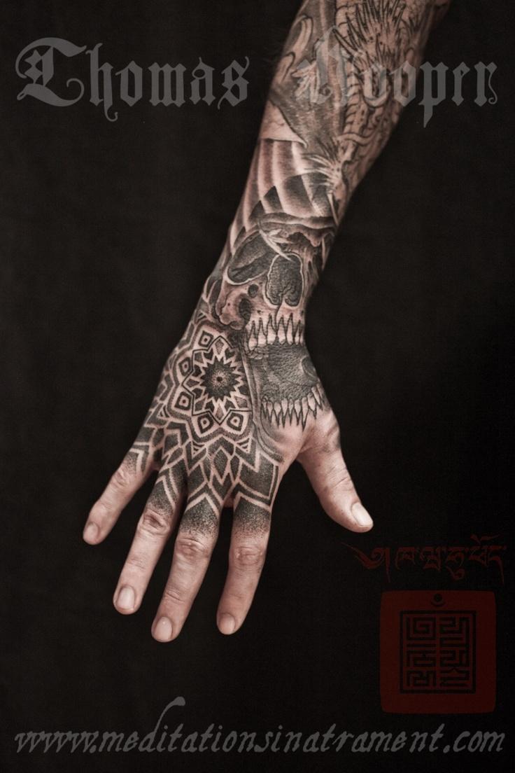 skull hexahedron and mandala hand tattoo thomas hooper. Black Bedroom Furniture Sets. Home Design Ideas