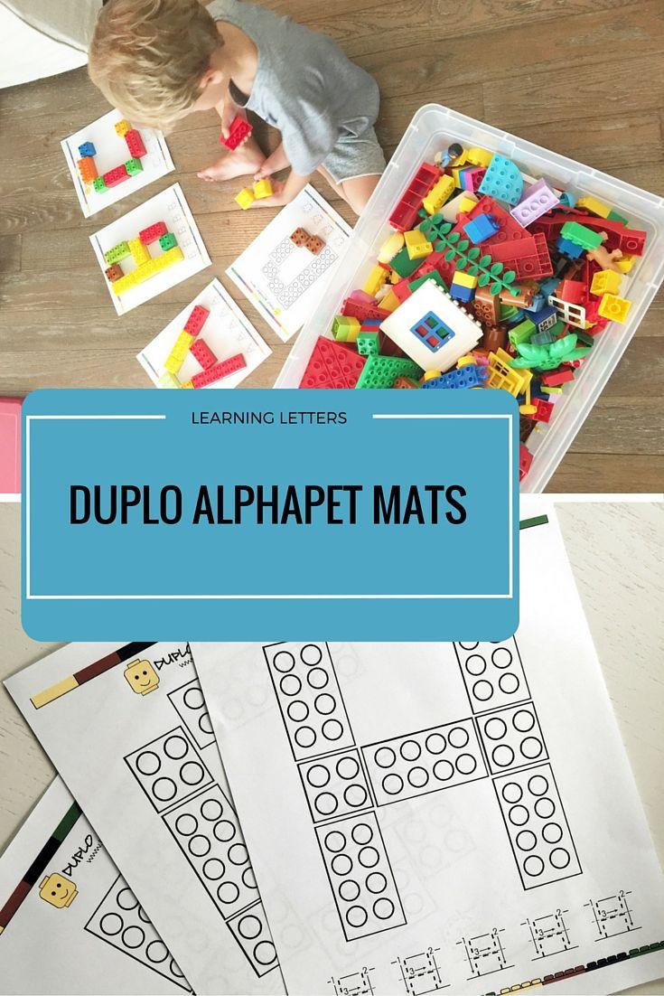 Free Duplo blocks mats for fun letter learning fun!