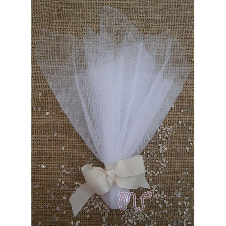 Μπομπονιέρες γάμου. Μπομπονιέρες γάμου πουγκί μαντήλι με κορδέλα γκρο