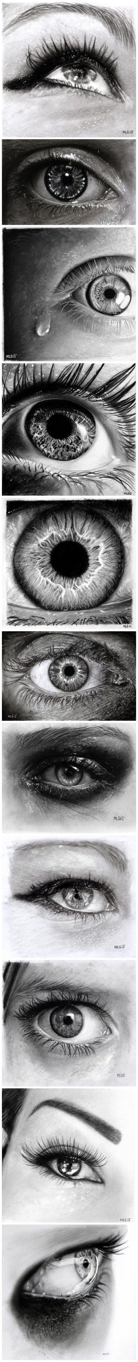 eyes---Pencil drawing must be charcoal pencils because I don't think graphite get that dark