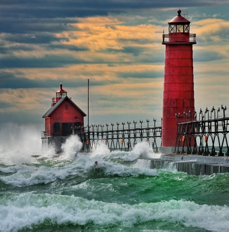 Grand Haven Breakwater Lighthouse, Grand Haven, Michigan by John McCormick.: Michigan Travel, Grand Haven Michigan, Lakes Superior, Holland Michigan, Lakes Michigan, First Places, Haven Breakwat, Lights Houses, The Sea