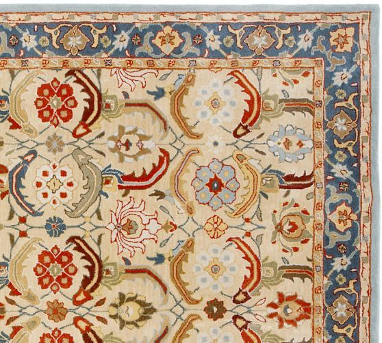 Eva Persian-Style Rug | Pottery Barn--This would be perfect in the Living Room and Foyer, with a solid rug in the Family Room!
