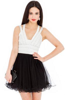 Letné mini šaty Jewel embellished Bodice netted