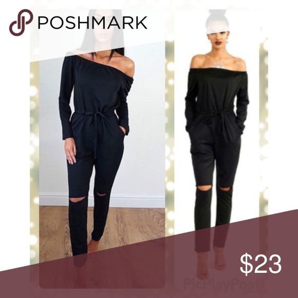 Jumpsuit Romper NEW Off shoulder • knee ripped soft jumpsuit • slim • casual • sexy • drawstring waist • 2 side pockets Pants Jumpsuits & Rompers