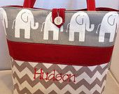 Modern Custom Diaper Bag...Ele Elephants and Chevron...Personalized with your choice of accent color