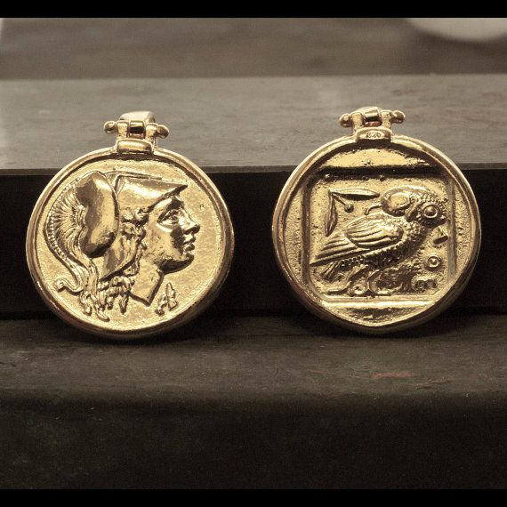Gold Ancient Greek Coin Necklace Men Coin Pendant by GreekMythos