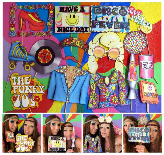 seventies photo booth props  perfect for a throw back 70s party or a funky retro themed disco fever party by thepartyevent, $14.99