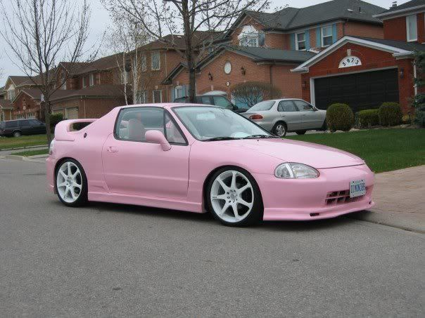 Yuuuppp if I ever find & own another del sol (I had 96 red one after my 1st semester of college @ 18) I will def girly it out like this, but in a candy coated looking pink gloss that sparkles when the sunshine hits it =)