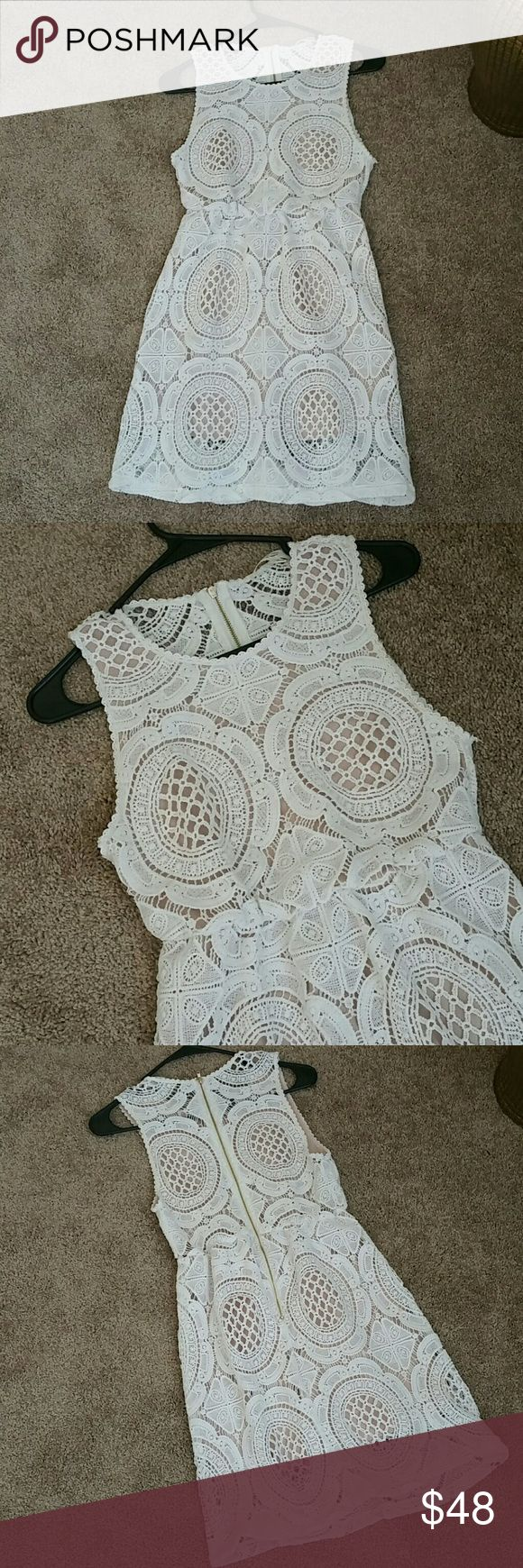"""Cream Embroidered Dress Fully lined cream lace dress 👌👗  A true must have gorgeous little dress, it can be easily a daily outfit with flip flops or a night out elegant dress if styled with some accessories and high heels.  Size is Small petite  Lenght 32"""" Bust 32"""" Dresses Mini"""