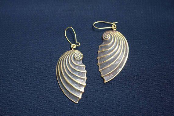 Unique Summer Earrings Sea Shell Earrings Handmade Bronze