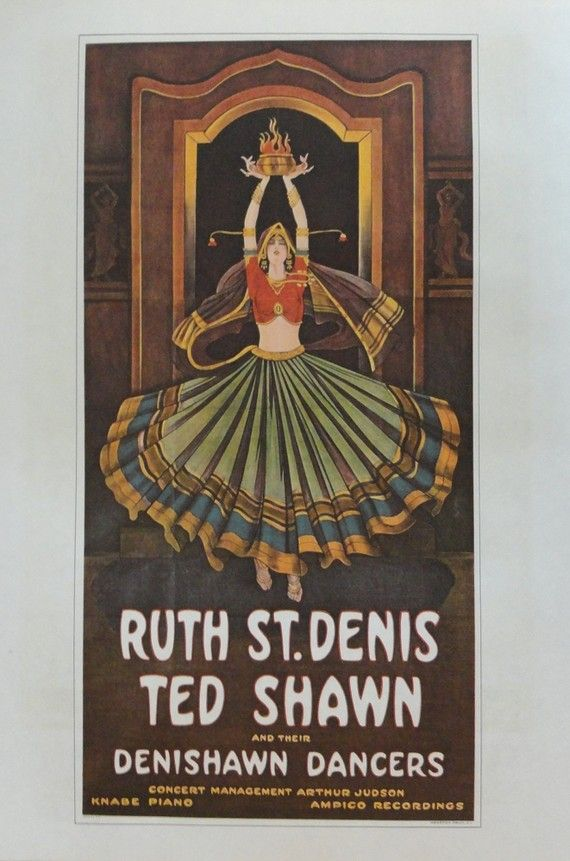 Vintage Dance Poster for Ruth St. Denis & Ted Shawn