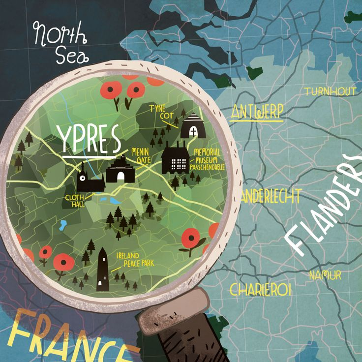 Steve McCarthy's Map of Ypres for Cara Magazine.