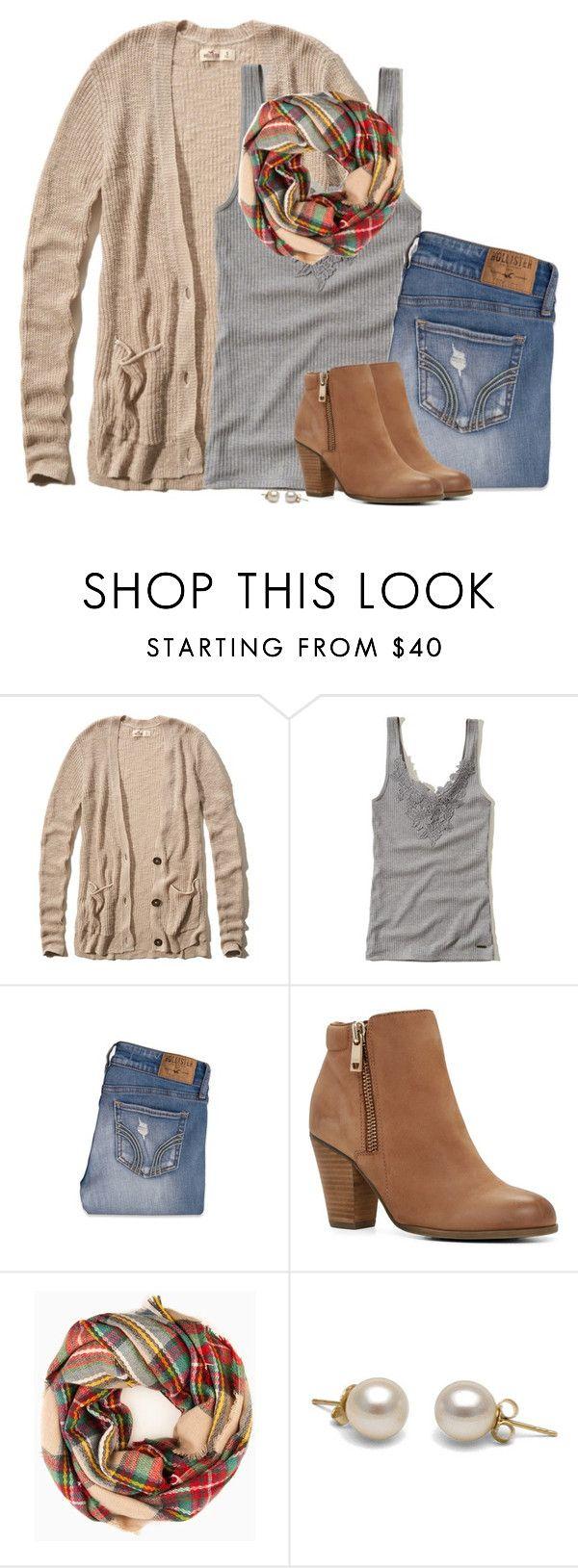 """Boyfriend cardigan, gray tank & plaid scarf"" by steffiestaffie ❤ liked on…"