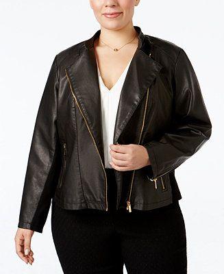 Calvin Klein Plus Size Faux-Leather Moto Jacket - Jackets & Blazers - Plus Sizes - Macy's