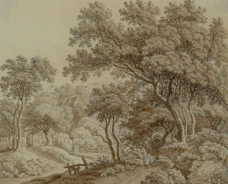 MÁNES Antonín | Krajina se stromy a stavením | polovina 20. let 19. století, tuš…
