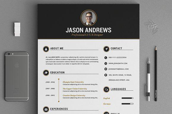 The Elegant Resume/CV Set Template by SNIPESCIENTIST on @creativemarket