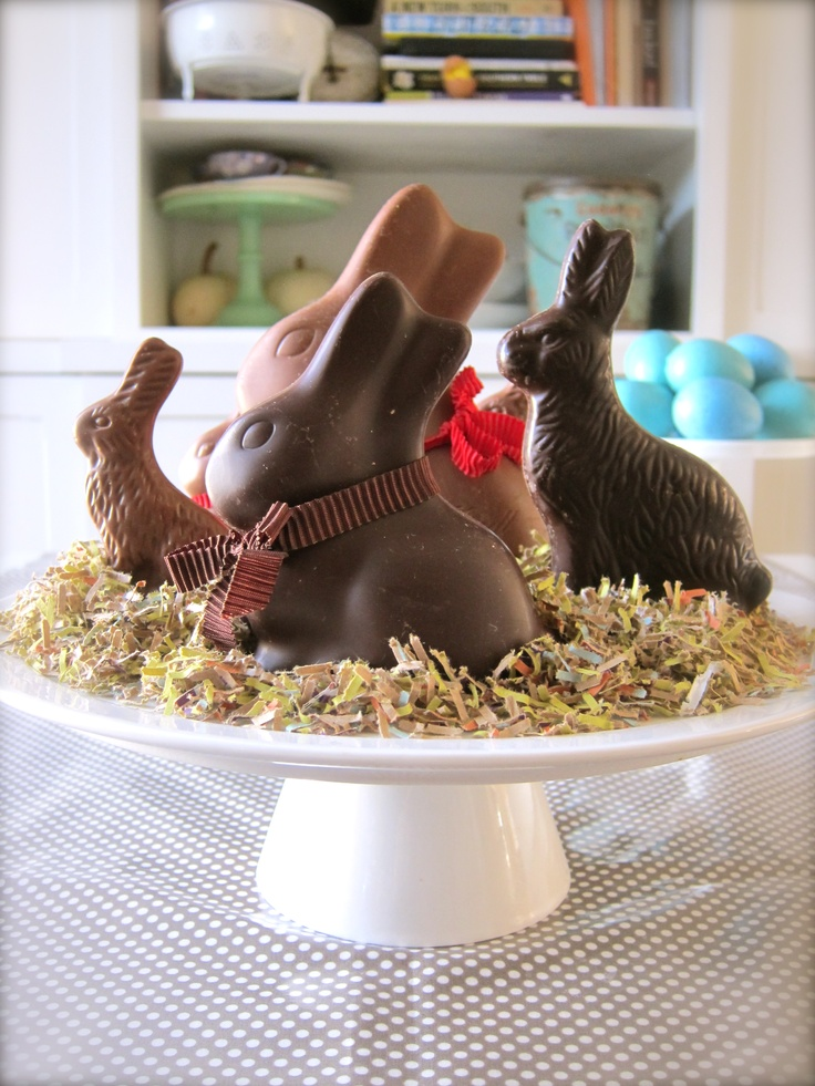 DIY whimsical Easter centerpiece with chocolate bunnies