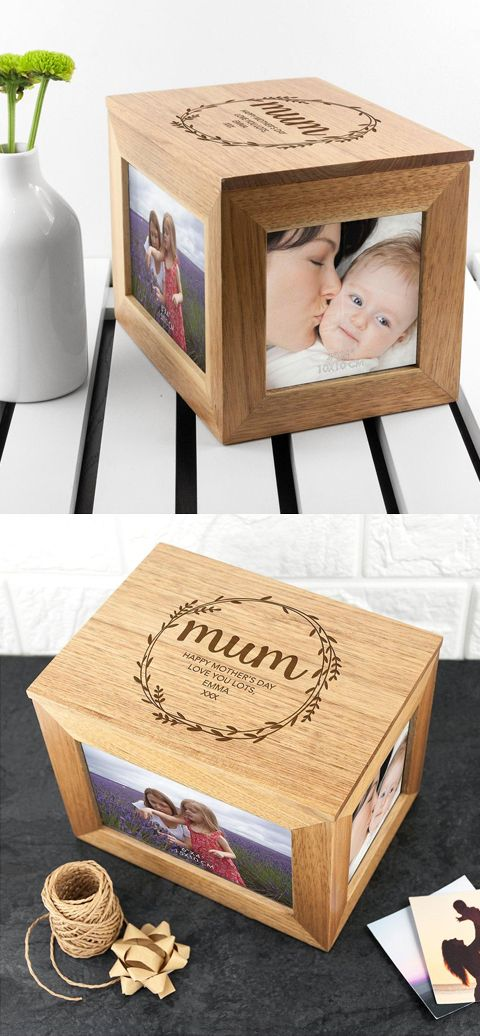 Customised Photo Frame Cube, Mothers Day Gift Idea. Have own personalised message engraved. Gifts for her, gifts for Mum. Mum birthday gifts or Christmas. Unique photo frames. #giftideas #gifts #christmasgifts #giftsformum #mothersday #giftsforher #affiliatelink #photoframes #mothersdaygifts