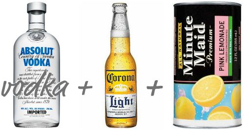 Pink Panty Dropper = 1/2 Corona Light, 1.5 oz vodka, spoonful or 2 of frozen pink lemonade.