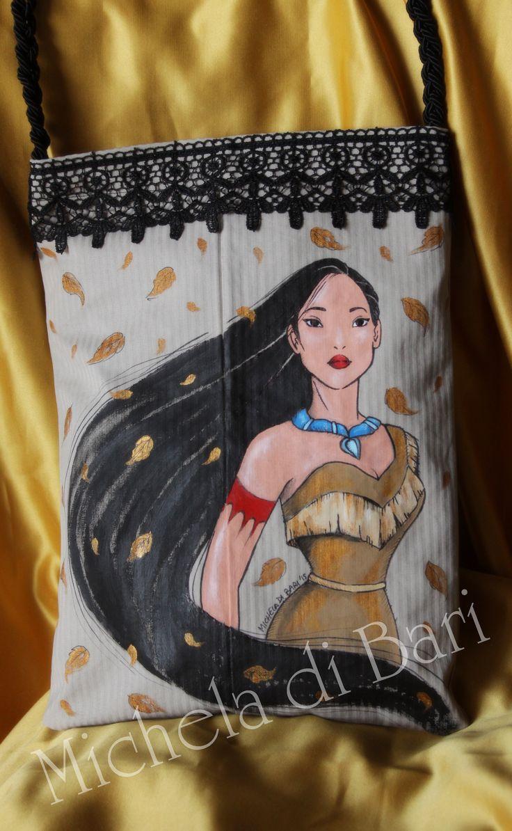 Borsa Pocahontas ♥ Totalmente realizzata a mano e dipinta a mano € 40 + SP Info 3203087887