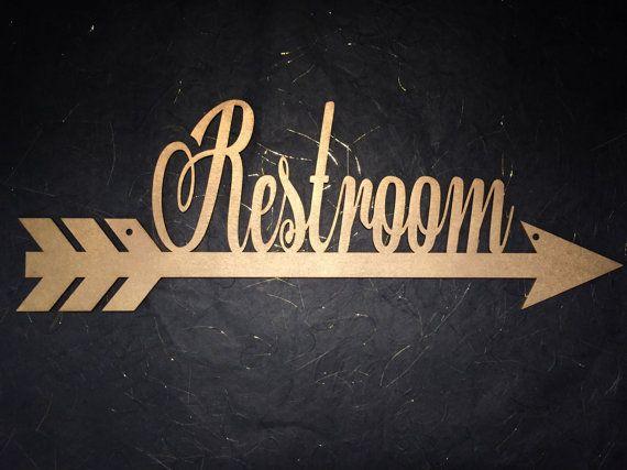 Restroom Arrow Sign Restroom Sign Bathroom by PSWeddingsandEvents