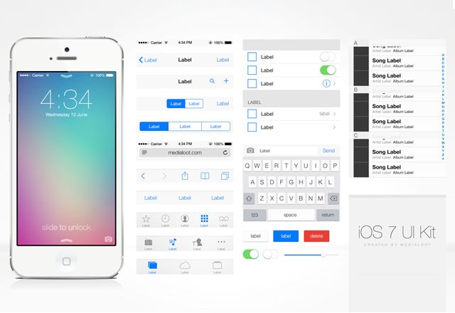 Free iOS 7 UI Kit 1 - Start designing iOS 7 apps today with this comprehensive GUI kit for Photoshop. Absolutely every element you see is 100% vector and completely editable! from Medialoot