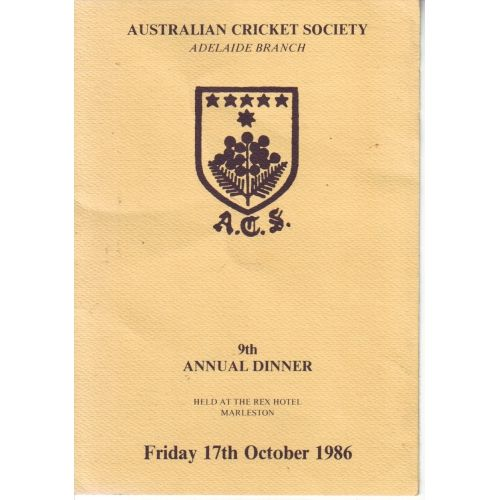 Australian Cricket Society 9th Annual Dinner Menu SIGNED BY SIR DONALD BRADMAN & LES FAVELL