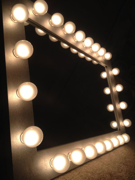 Vanity With Marquee Lights : Silver makeup vanity mirror with optional white satin lights called