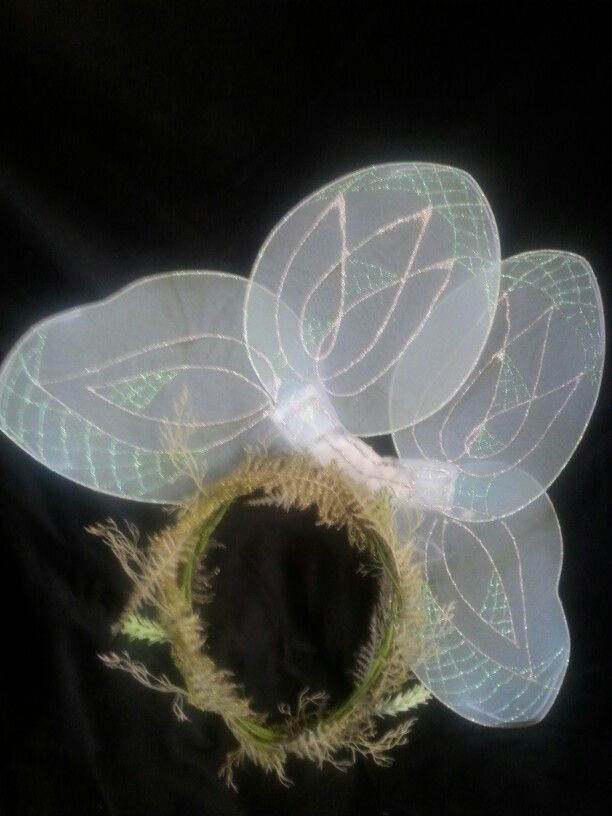 COBWEB - Fairy from Shakespeare's  Midsummer's Night.  OOAK Delicate wreath of ferms and moss partnered with 'webbed' wings. $35