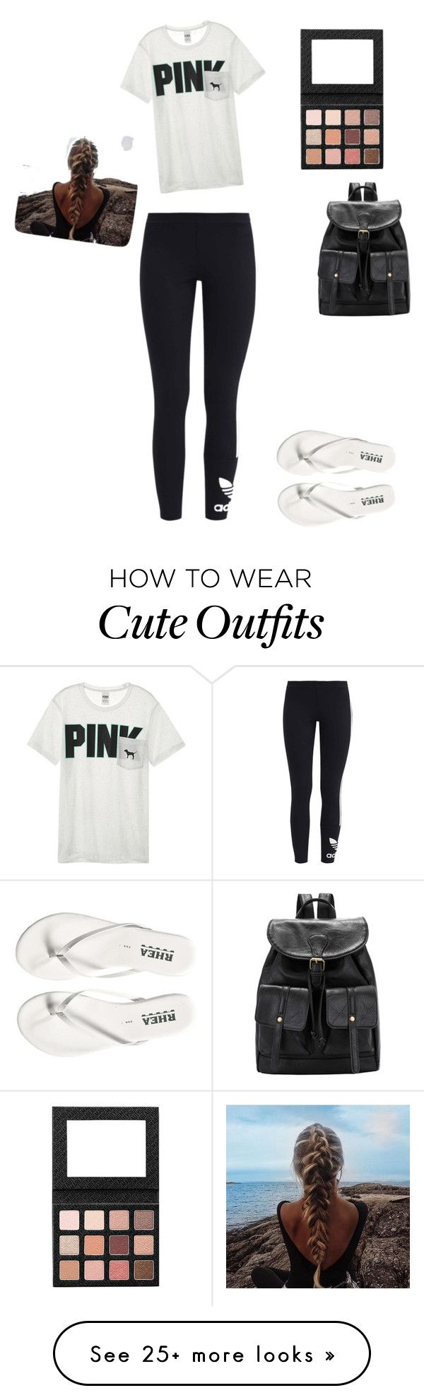 """""""Casual outfit with leggings"""" by khoneygirl on Polyvore featuring adidas Originals, Victoria's Secret, Leggings and WardrobeStaples"""