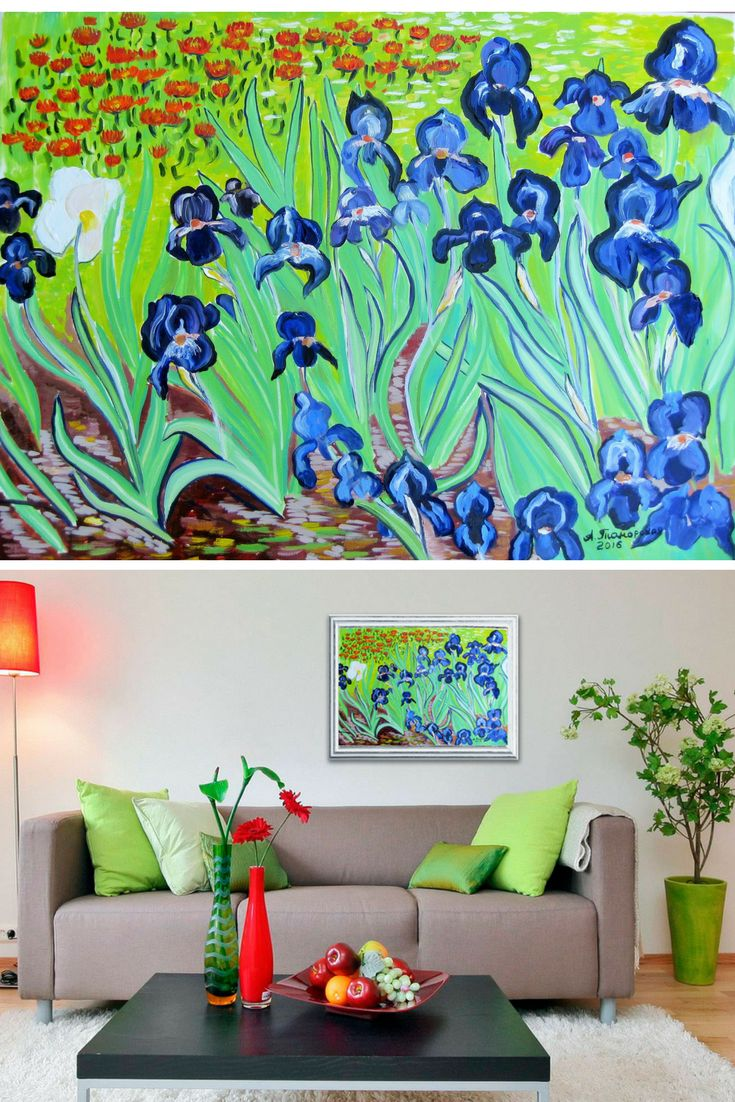 """Irises. Original Oil Painting on Canvas. Perfect Gift for Her. Wall Decoration. Home Decor. Wall Art. 2016, 18""""x24"""", 46x61 cm. Unframed. Ready to hang. Painted edges. AVAILABLE FOR IMMEDIATE PURCHASE.   This painting was inspired by 'Irises' by Vincent Van Gogh (1853-90). He was famed for his bold, dramatic brush strokes which expressed emotion and added a feeling of movement to his works. It´s thought that he often used paint straight from the tube (impasto). He worked with a great sense..."""