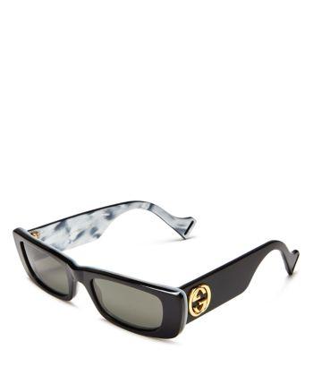 Gucci Women S Slim Rectangular Sunglasses 52mm Jewelry Accessories Bloomingdale S In 2021 Stylish Glasses Gucci Sunglasses Women Rectangular Sunglasses