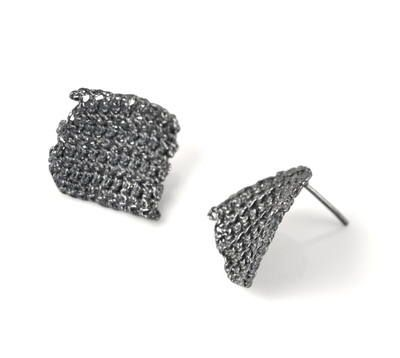 Oxidised Granny Square Earrings by Ebba Goring #silver #contemporary #boutique #London  #designer #jewellery #handmade #NudeJewellery