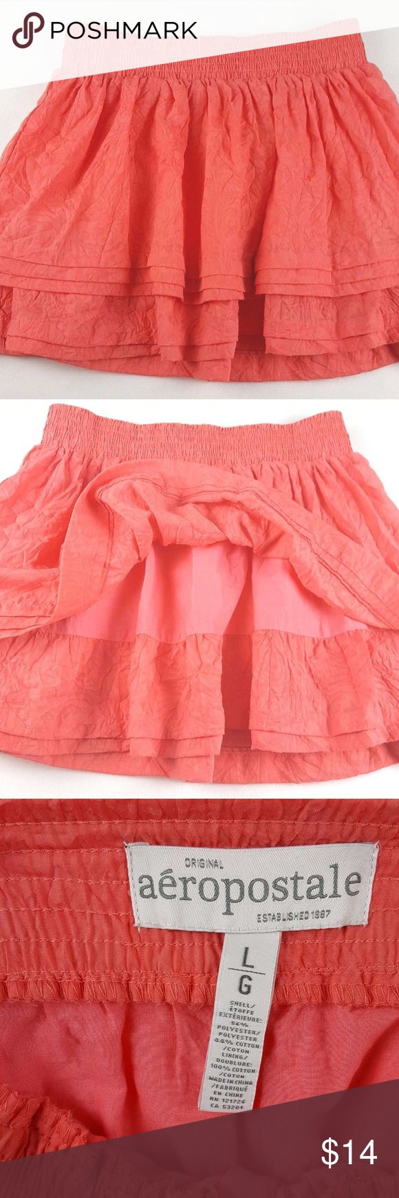 "Aeropostale Womens Crinkle Coral Layered Skirt Pleated Coral Layered Mini Skirt. Stretch Waist. Beautiful Pre-Owned Condition. Measurements {Taken with clothing lying flat}  Waist: 14"" {Not stretched} Length: 16"" Aeropostale Skirts Mini"