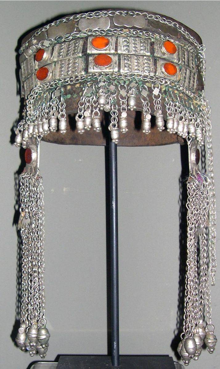 Yemen | Silver and carnelian headdress on leather | ca. early to mid 1900s | © Linda Pastorino.