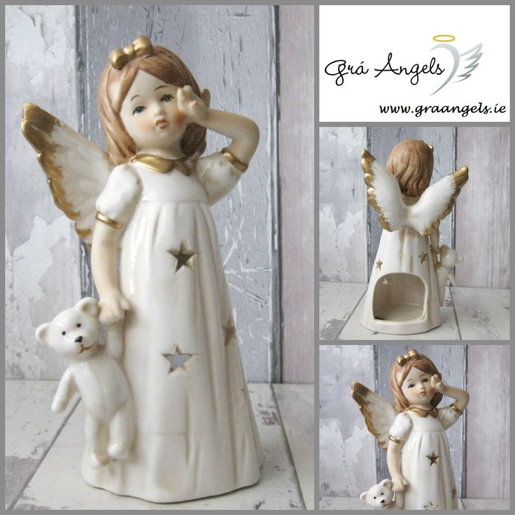 This is an adorable porcelain Angel candle holder with star cut outs to allow light fill the room. This hand painted Angel holds her teddy bear and her wings are tipped with gold. She would make a beautiful addition to any home or as a thoughtful gift.   The dimensions for this Angel are height 15.5cm and her width is 8.5cm. She is available on our website for €12 here http://bit.ly/2ewcnT7
