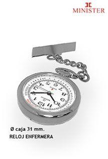 Reloj de enfermera con alfiler para colgar de la firma de relojes Minister. Mecanismo de cuarzo.