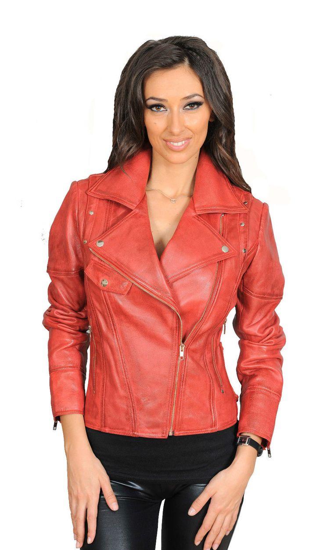 Neueste designer mode angepasst BIKER-Lederjacke jessica rot Lammleder MANTEL | eBay